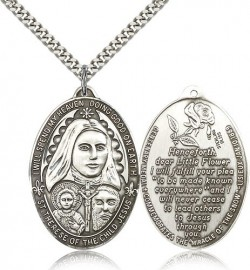 St. Therese Medal, Sterling Silver [BL5999]
