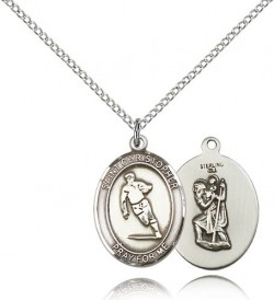 St. Christopher Rugby Medal, Sterling Silver, Medium [BL1386]