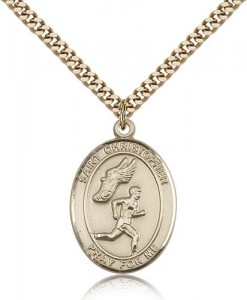 St. Christopher Track and Field Medal, Gold Filled, Large [BL1472]
