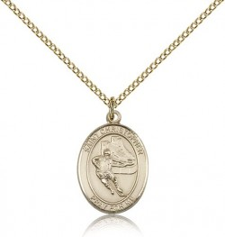 St. Christopher Hockey Medal, Gold Filled, Medium [BL1266]