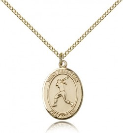 St. Sebastian Softball Medal, Gold Filled, Medium [BL3567]