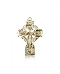 Celtic Crucifix Pendant, 14 Karat Gold [BL6448]