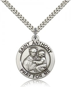 Large Sterling Silver Saint Anthony Pendant [BL5736]