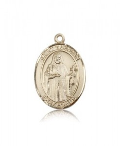 St. Brendan the Navigator Medal, 14 Karat Gold, Large [BL0951]