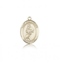 St. Christopher Softball Medal, 14 Karat Gold, Medium [BL1415]