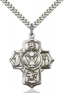 5 Way Cross Army Medal, Sterling Silver [BL7079]