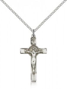 Women's Sterling Silver St. Benedict Crucifix Pendant [BL4663]