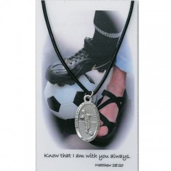 Boy's St. Christopher Soccer Medal with Leather Chain and Prayer Card Set [MPC0080]
