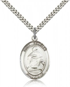 St. Charles Borromeo Medal, Sterling Silver, Large [BL1096]