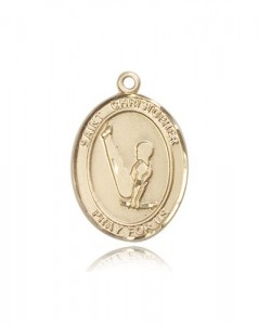 St. Christopher Gymnastics Medal, 14 Karat Gold, Large [BL1254]