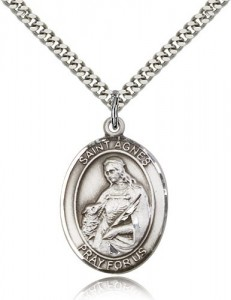 St. Agnes of Rome Medal, Sterling Silver, Large [BL0606]