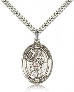 St. Peter Nolasco Medal, Sterling Silver, Large [BL3057]