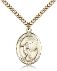 St. Christopher Soccer Medal, Gold Filled, Large [BL1403]