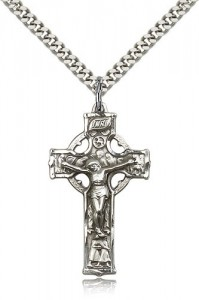 Celtic Crucifix Pendant, Sterling Silver [BL6334]