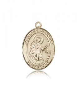 Our Lady of Mercy Medal, 14 Karat Gold, Large [BL0381]