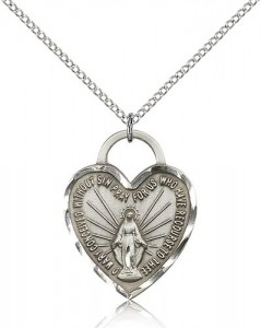 Miraculous Heart Medal, Sterling Silver [BL5553]