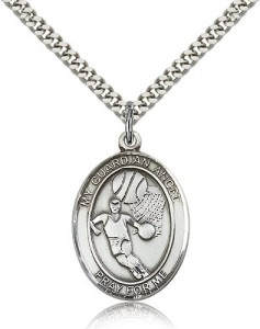 Guardian Angel Basketball Medal, Sterling Silver, Large [BL0112]