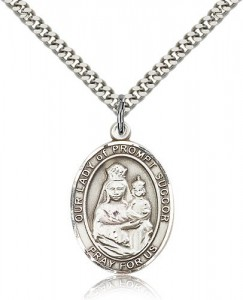 Our Lady of Prompt Succor Medal, Sterling Silver, Large [BL0432]