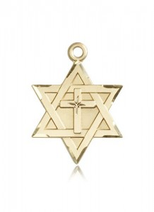 Star of David with Cross Pendant, 14 Karat Gold [BL5155]