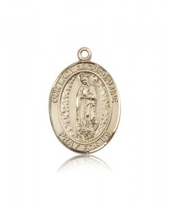 Our Lady of Guadalupe Medal, 14 Karat Gold, Large [BL0309]