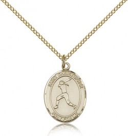 St. Christopher Softball Medal, Gold Filled, Medium [BL1419]