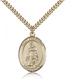 St. Peregrine Laziosi Medal, Gold Filled, Large [BL3036]