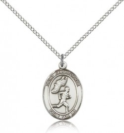 St. Christopher Track & Field Medal, Sterling Silver, Medium [BL1485]