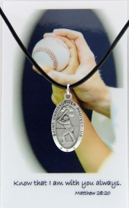 Boy's St. Christopher Baseball Medal with Leather Chain and Prayer Card Set [MPC0076]