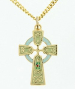Light Green Celtic Cross Pendant 22 KT Gold Over Sterling Silver [CRD085]