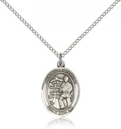St Christopher Karate Medal, Sterling Silver, Medium [BL0545]