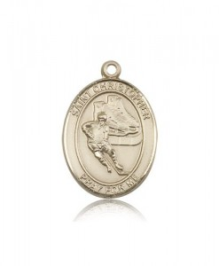 St. Christopher Hockey Medal, 14 Karat Gold, Large [BL1263]