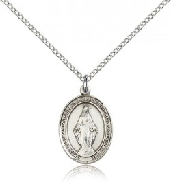 Miraculous Medal, Sterling Silver, Medium [BL0244]
