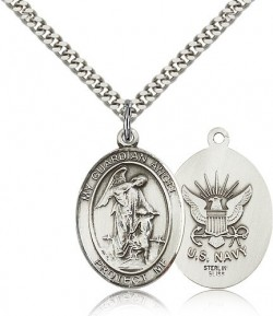 Guardian Angel Navy Medal, Sterling Silver, Large [BL0147]