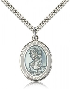 St. Christopher Medal with White Border, Sterling Silver, Large [BL1326]