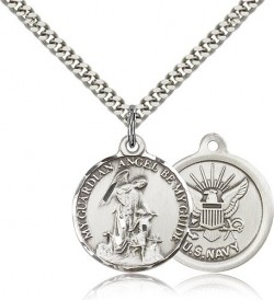 Navy Guardain Angel Medal, Sterling Silver [BL4444]