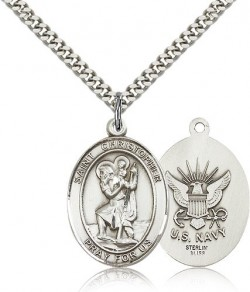 St. Christopher Navy Medal, Sterling Silver, Large [BL1358]