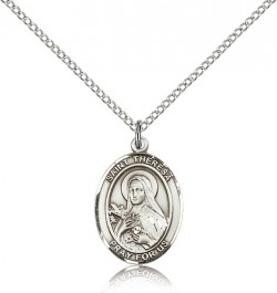 St. Theresa Medal, Sterling Silver, Medium [BL3758]