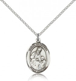 St. Ambrose Medal, Sterling Silver, Medium [BL0679]