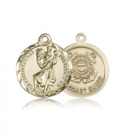St. Christopher Coast Guard Medal, 14 Karat Gold [BL4181]
