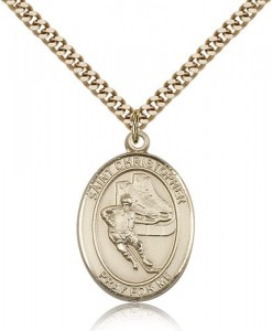 St. Christopher Hockey Medal, Gold Filled, Large [BL1265]