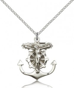 Anchor Crucifix Pendant, Sterling Silver [BL6452]
