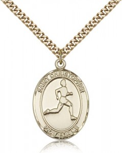 St. Christopher Track and Field Medal, Gold Filled, Large [BL1471]