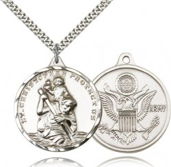St. Christopher Army Medal, Sterling Silver [BL4255]