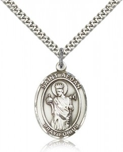 St. Aedan of Ferns Medal, Sterling Silver, Large [BL0582]