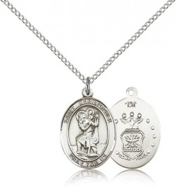 St. Christopher Air Force Medal, Sterling Silver, Medium [BL1124]
