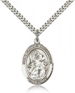 St. Gabriel the Archangel Medal, Sterling Silver, Large [BL1858]