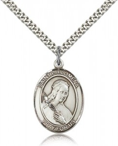 St. Philomena Medal, Sterling Silver, Large [BL3102]