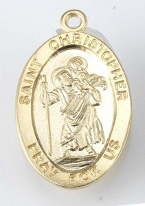 St. Christopher Pendant Oval, 16 Karat Gold Over Sterling Silver with Chain [HMR0508]