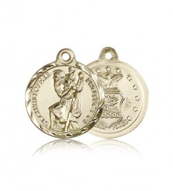 St. Christopher Air Force Medal, 14 Karat Gold [BL4179]