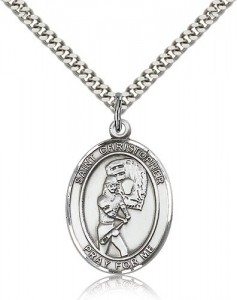 St. Christopher Softball Medal, Sterling Silver, Large [BL1423]